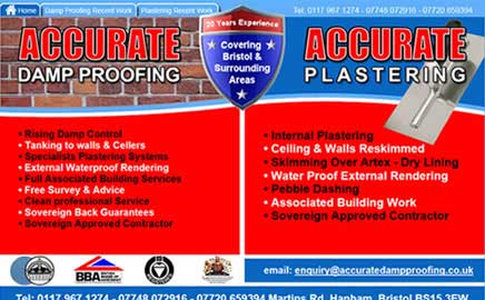 Accurate Damp Proofing & Plastering - Thumbnail image with link to website
